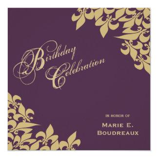 Gold Purple Fleur de Lis Milestone Birthday Party Card