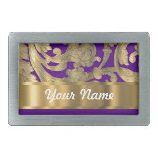 Gold purple floral damask pattern belt buckles