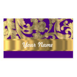 Gold & purple floral damask pattern business card template