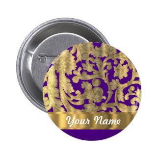 Gold purple floral damask pattern pinback button