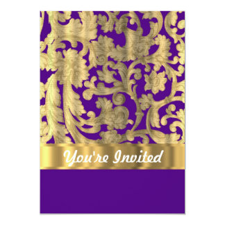 Gold & purple floral damask pattern card