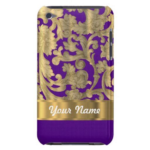 Gold & purple floral damask pattern iPod touch covers