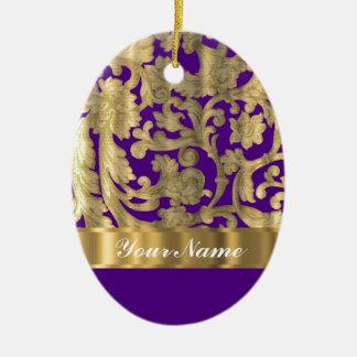 Gold & purple floral damask pattern ceramic ornament