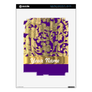 Gold & purple floral damask pattern decals for iPad 3