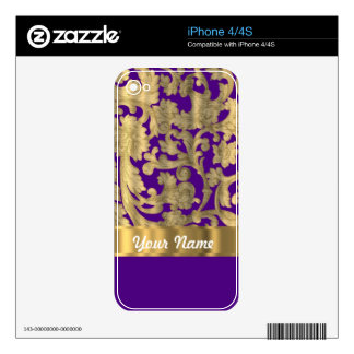 Gold & purple floral damask pattern decals for iPhone 4