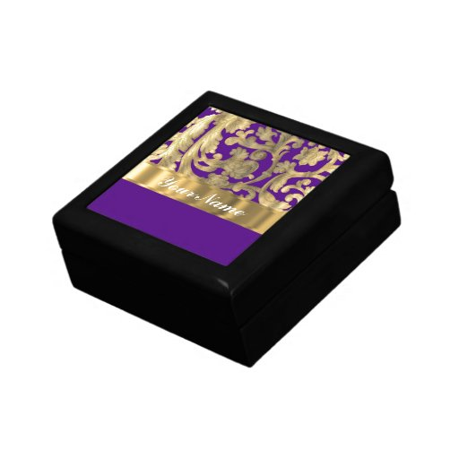 Gold & purple floral damask pattern gift boxes