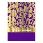 "Gold & purple floral damask pattern 5"" x 7"" invitation card"