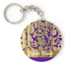 Gold & purple floral damask pattern keychain