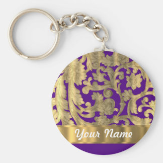 Gold purple floral damask pattern keychains
