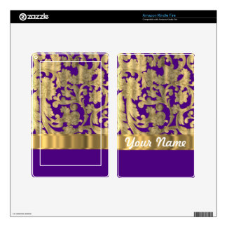 Gold & purple floral damask pattern kindle fire decals