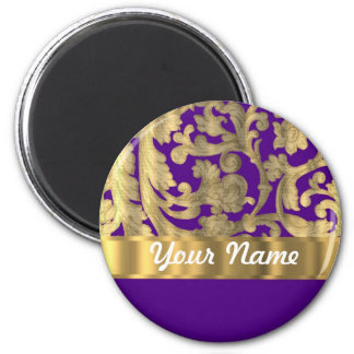 Gold & purple floral damask pattern magnet