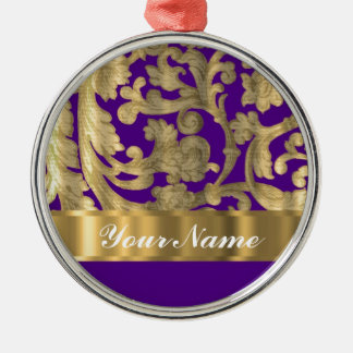 Gold & purple floral damask pattern metal ornament