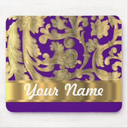Gold & purple floral damask pattern mouse pad