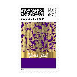 Gold & purple floral damask pattern postage stamp