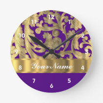 Gold & purple floral damask pattern round clock