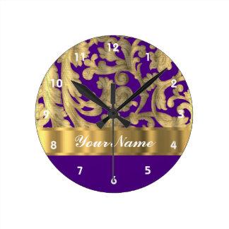 Gold & purple floral damask pattern round clock
