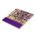 Gold & purple floral damask pattern tiles