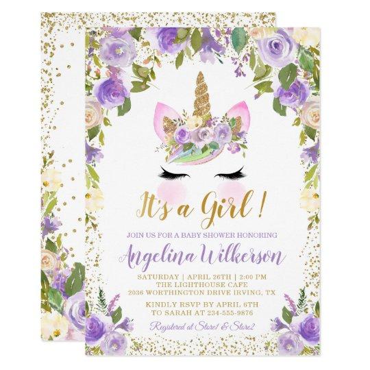 Gold Purple Floral Unicorn Baby Shower Invitations Zazzle