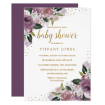 Gold Purple Floral Watercolor Baby Shower Invite