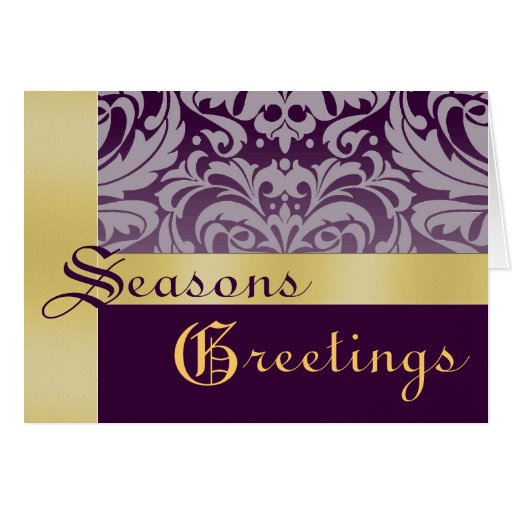 Gold  Purple Frosted Damask Christmas Holiday Card