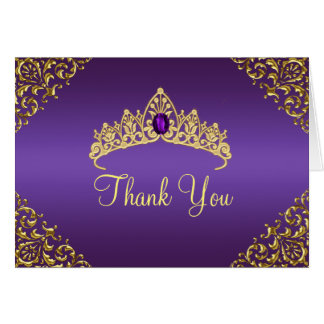 Gold & Purple Gem Tiara Thank You Card