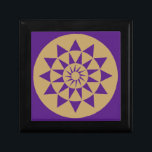 "Gold &amp; Purple Geometric Pattern small gift Box<br><div class=""desc"">A Stylish,  modern,  energetic patterned jewelry/keepsake/gift box with a bold geometric circular and triangular art print,  that makes a positive impression on the mind in any room. Other designs and colors available from Energetic Interiors Store.</div>"