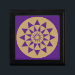 """Gold &amp; Purple Geometric Pattern small gift Box<br><div class=""""desc"""">A Stylish,  modern,  energetic patterned jewelry/keepsake/gift box with a bold geometric circular and triangular art print,  that makes a positive impression on the mind in any room. Other designs and colors available from Energetic Interiors Store.</div>"""