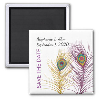 Gold Purple Glittery Peacock Feather Save The Date Magnet