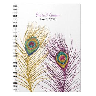 Gold Purple Glittery Peacock Feather Wedding Notebook