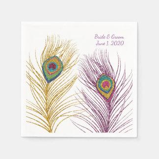 Gold Purple Glittery Peacock Feather Wedding Paper Napkin