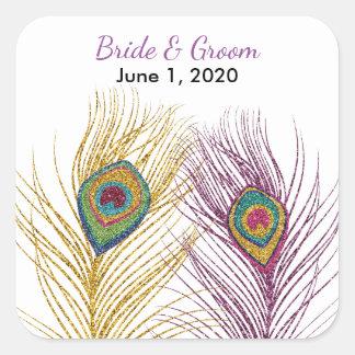 Gold Purple Glittery Peacock Feather Wedding Square Sticker