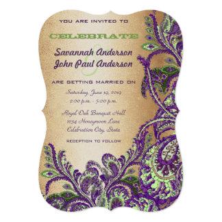 Gold Purple Green Vintage Peacock Paisley Wedding Card