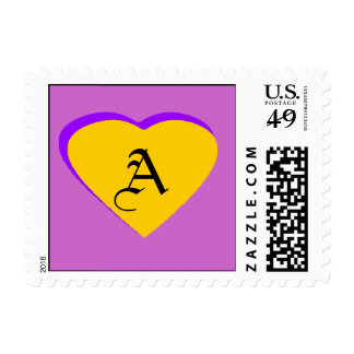 Gold - Purple Heart Letter A The MUSEUM Zazzle S Postage