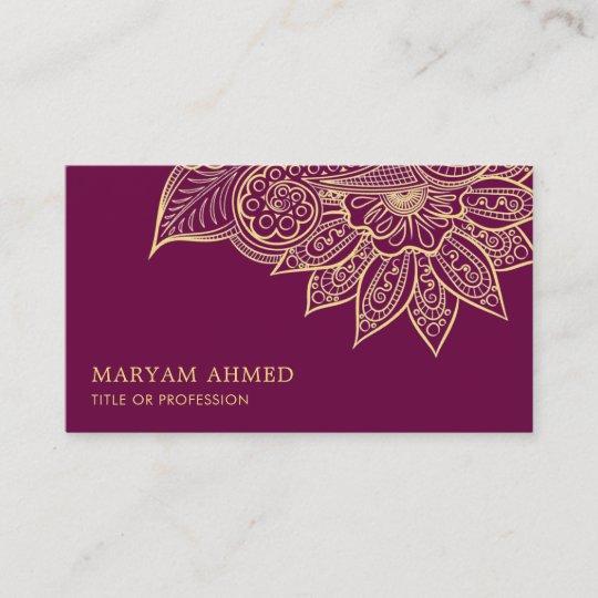 Gold Purple Henna Mehndi Islamic Business Card | Zazzle.com