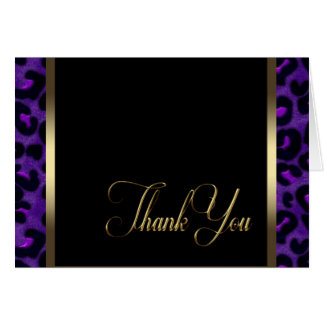 Gold Purple Leopard Thank You Cards