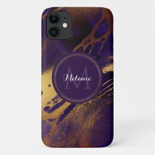 Gold Purple Marble Ink Swirls Name Monogram iPhone 11 Case