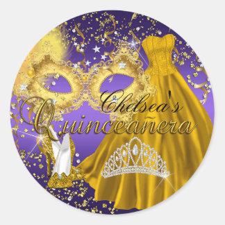 Gold & Purple Mask Masquerade Quinceanera Sticker