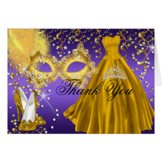 Gold & Purple Mask Masquerade Thank You Card