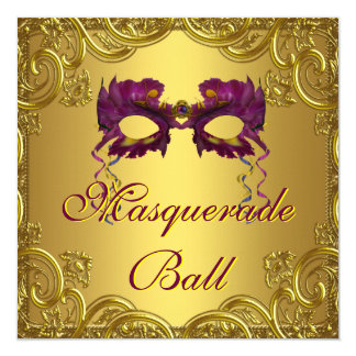 Gold Purple Mask Purple Masquerade Ball Party Card