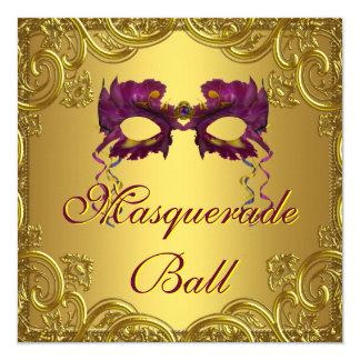 Gold Purple Mask Purple Masquerade Ball Party 5.25x5.25 Square Paper Invitation Card