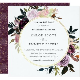 Gold Purple Mauve Pink Floral Engagement Party Invitation