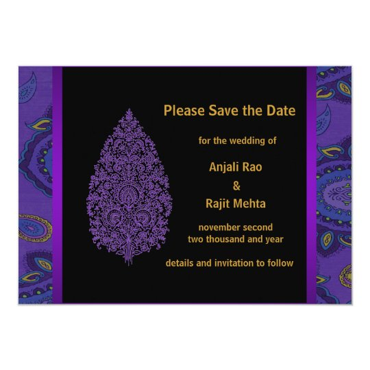 Gold Purple Peacock Paisley Save The Date Card