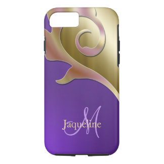 Gold Purple Pink Metallic Monogram iPhone 8/7 Case