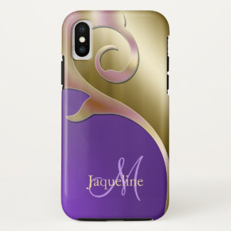 Gold Purple Pink Metallic Monogram iPhone X Case