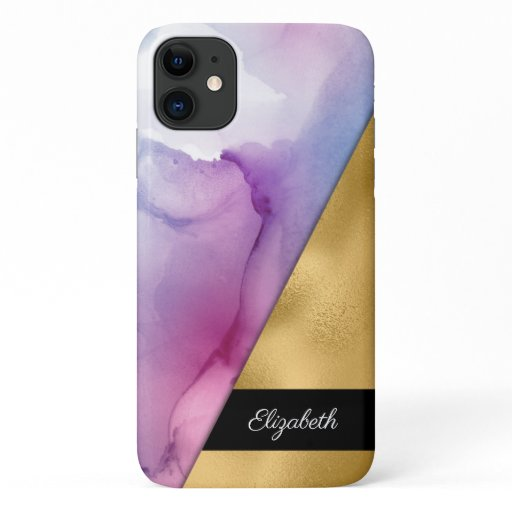 Gold Purple Pink Ombre Watercolor Ink Your Name iPhone 11 Case