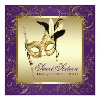 Gold Purple Sweet Sixteen Masquerade Party Card