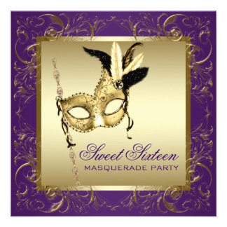 Gold Purple Sweet Sixteen Masquerade Party Custom Announcement
