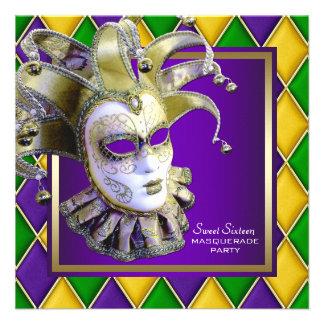Gold Purple Sweet Sixteen Masquerade Party Invitation