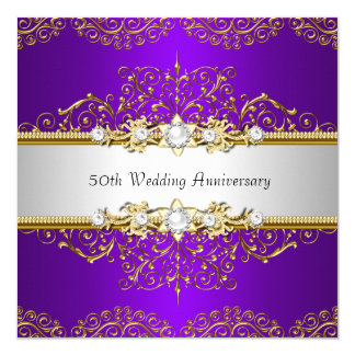Gold Purple Swirl 50th Wedding Anniversary Card
