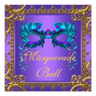 Gold Purple Teal Blue Mask Masquerade Ball Card